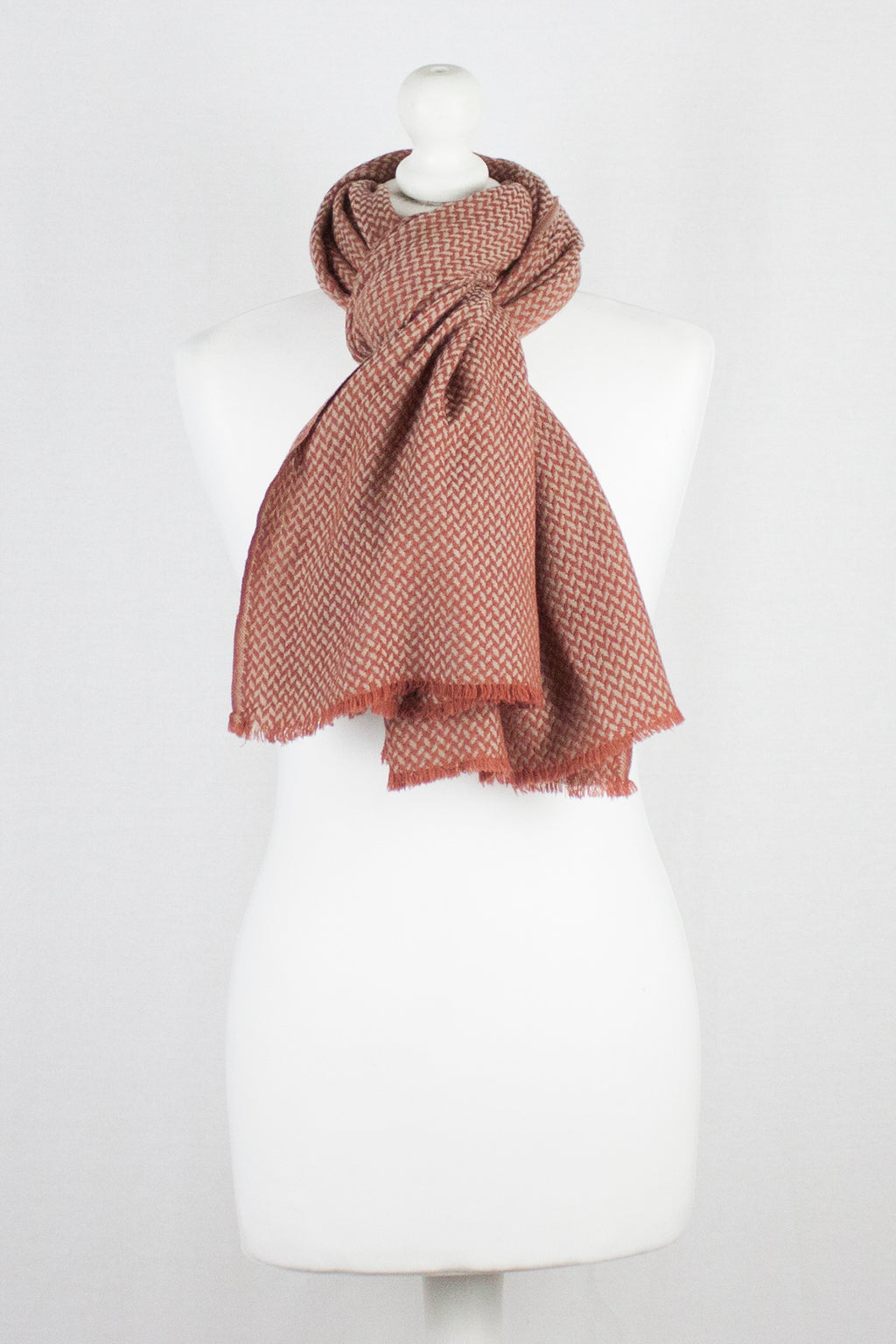 Chevron Weave Two Tone Merino Wool Scarf - Orange Beige