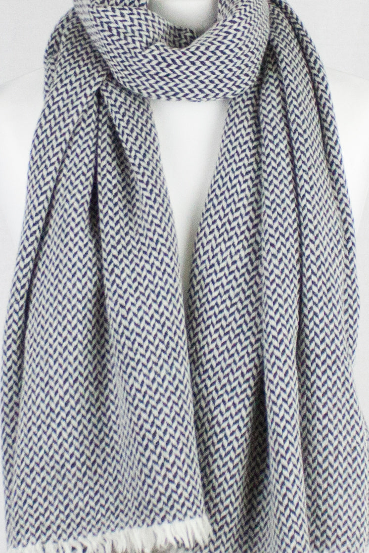 Chevron Weave Two Tone Merino Wool Scarf - Black White