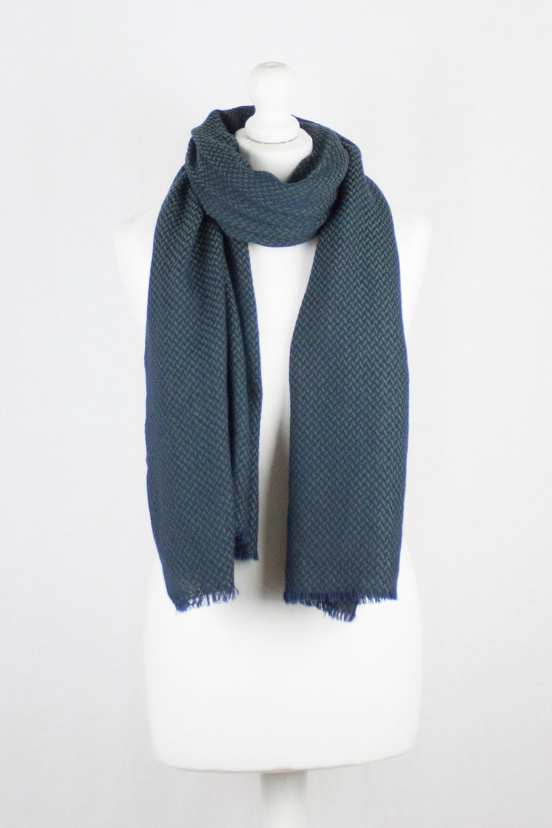 Chevron Weave Two Tone Merino Wool Scarf - Navy Green