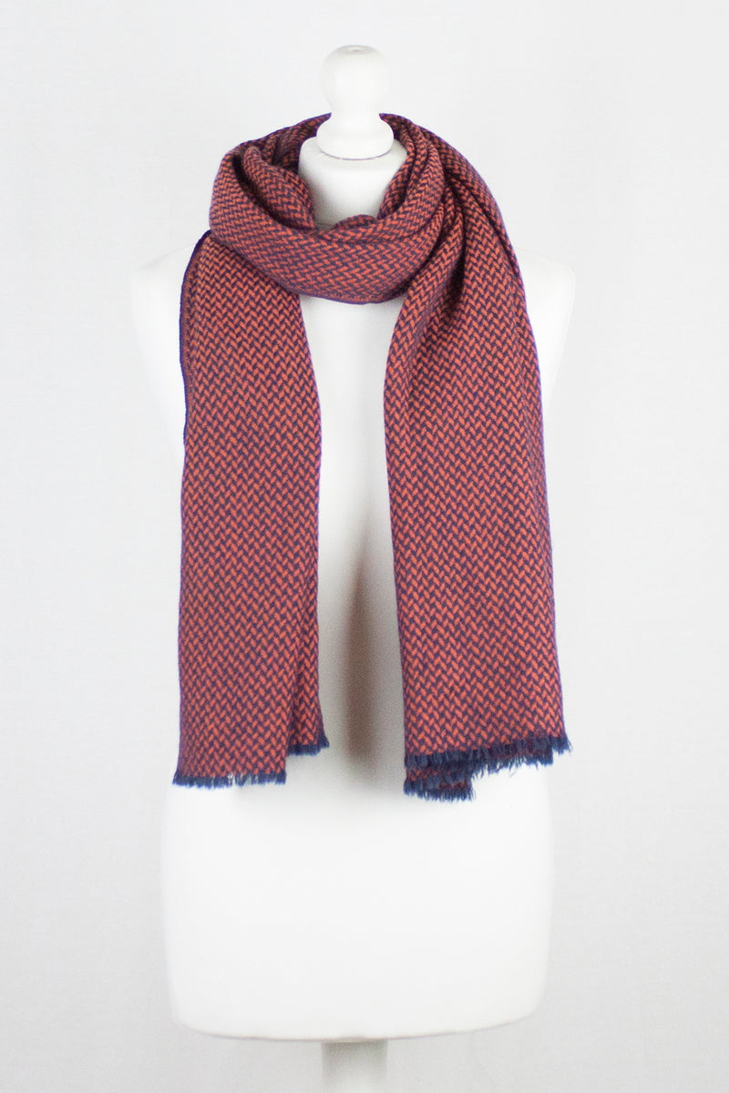 Chevron Weave Two Tone Merino Wool Scarf - Orange Navy
