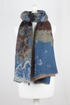 Iceberg Jacquard Merino Wool Scarf - Brown Grey Blue