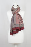 Checks & Stripes Bagh Hand-block Print Silk Scarf - Red
