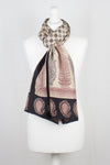 Checks Mesh Bagh Hand-block Print Silk Scarf - Black
