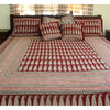 Long Paisley Bagh Hand-block Print Flat Bed Sheet and Pillowcase Set - Red