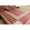 Flower Mesh & Paisley Hand-block Print Flat Bed Sheet and Pillowcase Set - Red