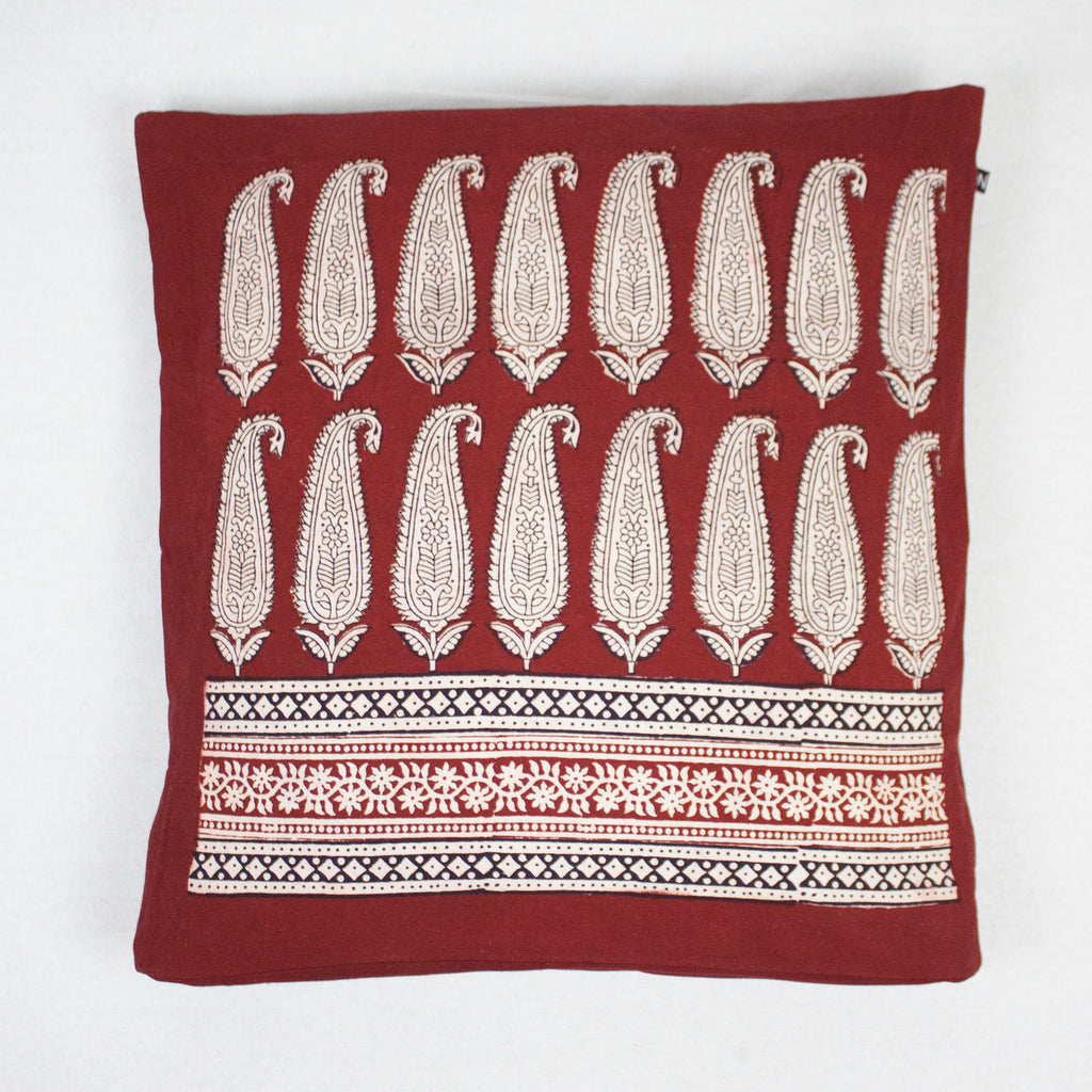 Long Paisley Bagh Hand Block Print Cotton Cushion Cover - Red
