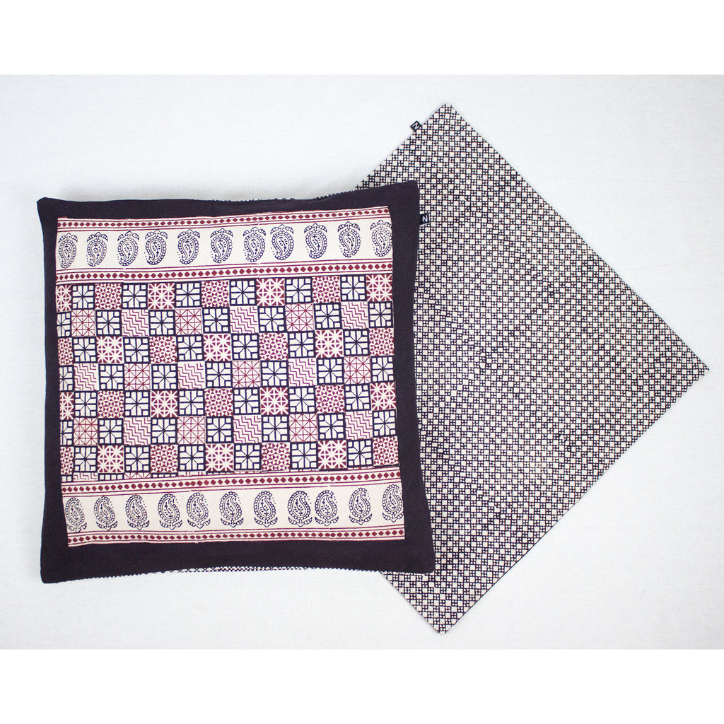 Checks Mix & Diamond Bagh Hand Block Print Cotton Cushion Cover - White Black Red