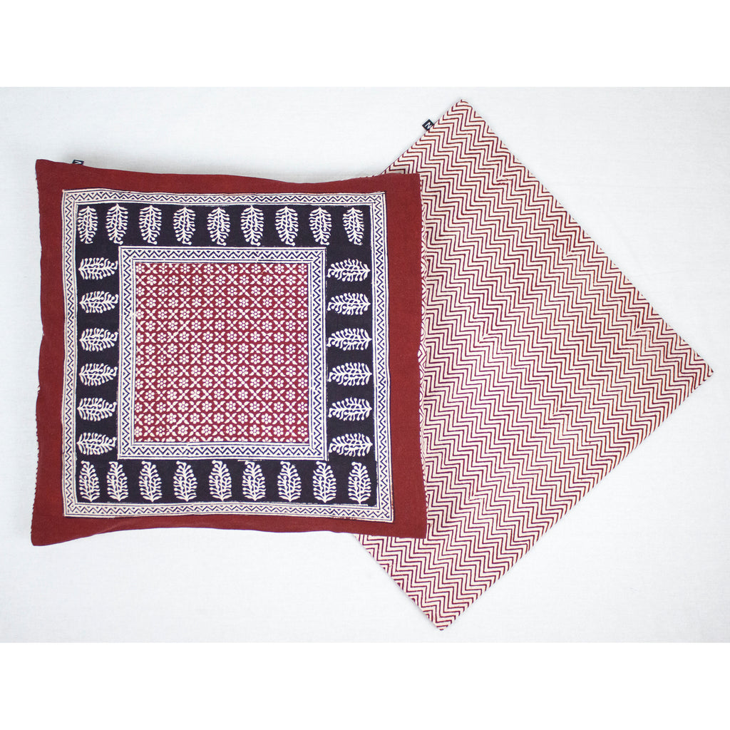 Flower Mesh Paisley & Chevron Bagh Hand-block Print Cushion Cover - Red Black