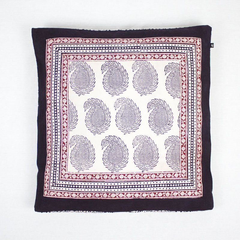 Ambi Paisley & Floral Mix Bagh Hand Block Print Cotton Cushion Cover - White Black Red