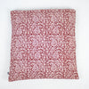 Paisley & Mushroom Bagh Hand-block Print Cushion Cover - Red