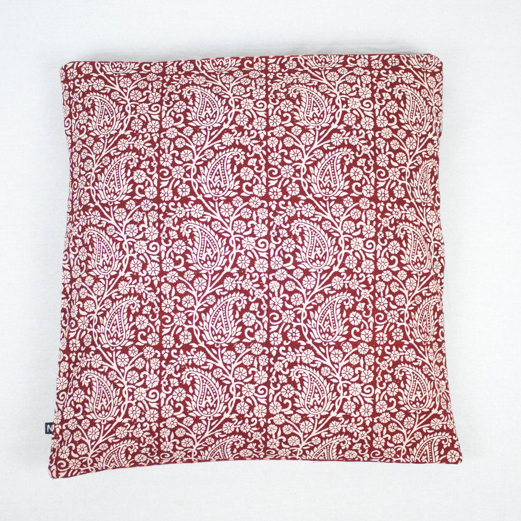Paisley & Mushroom Bagh Hand Block Print Cotton Cushion Cover - Red