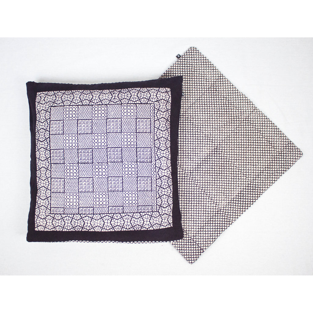 Checks Mix & Seashell Bagh Hand Block Print Cotton Cushion Cover - White Black