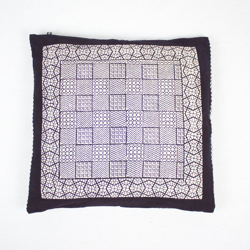 Checks Mix & Seashell Bagh Hand-block Print Cushion Cover - White Black
