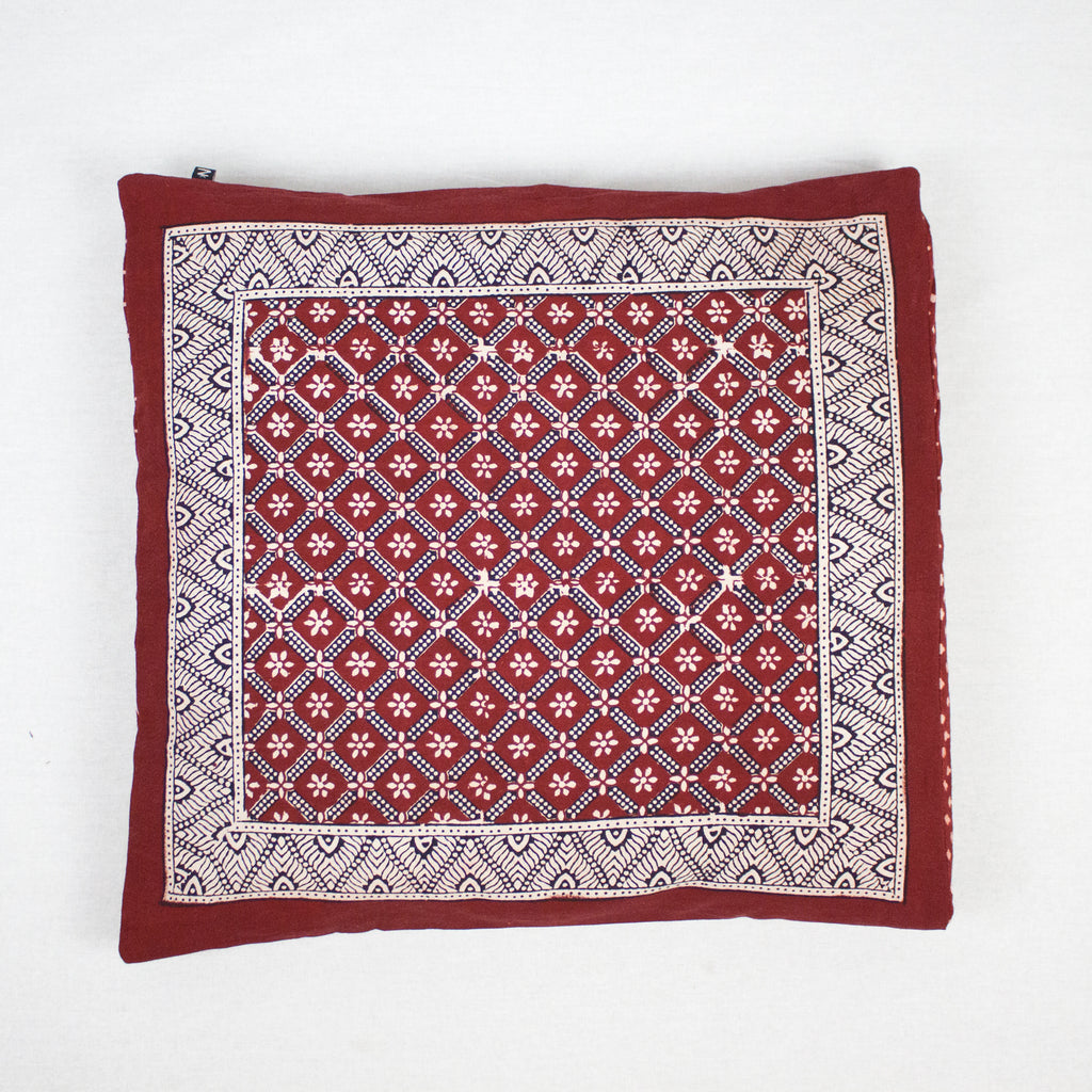 Flower Mesh & Mushroom Bagh Hand Block Print Cotton Cushion Cover - Red