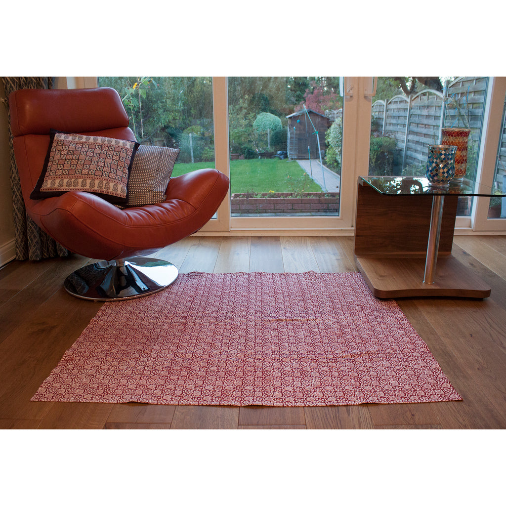 Lotus Flower Hand-block Print Area Rug - Red
