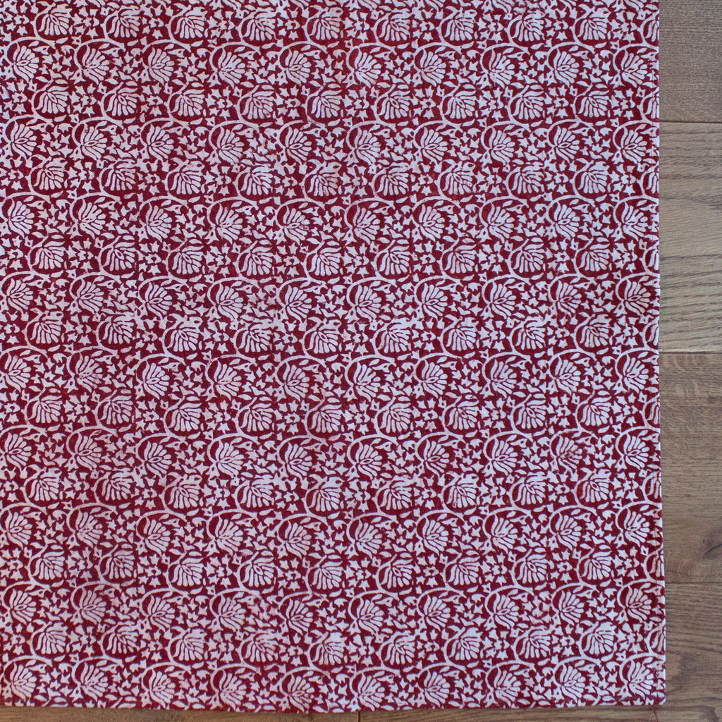 Lotus Flower Hand-block Print Dari Rug - Red