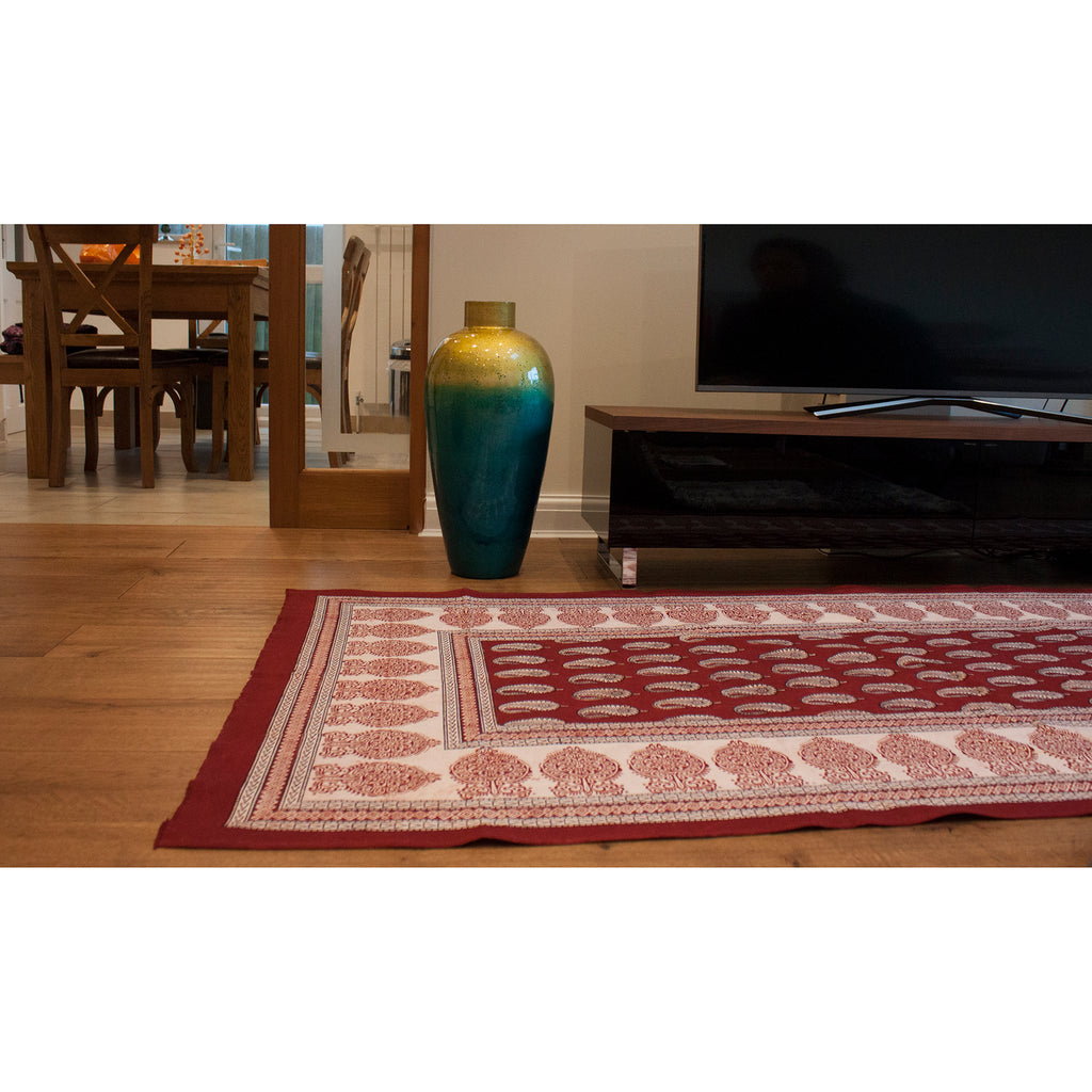 Paisley & Ambi Hand Block Print Area / Runner Rug - Red White