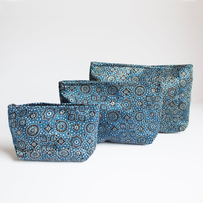 Ajrakh Hand-block Print Pouch Set of 3 - Blue Geometric