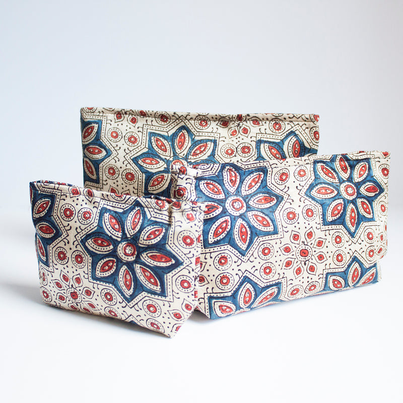 Ajrakh Hand-block Print Pouch Set of 3 - Off-White Star Flower