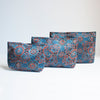 Ajrakh Hand-block Print Pouch Set of 3 - Blue Red Paisley Flower