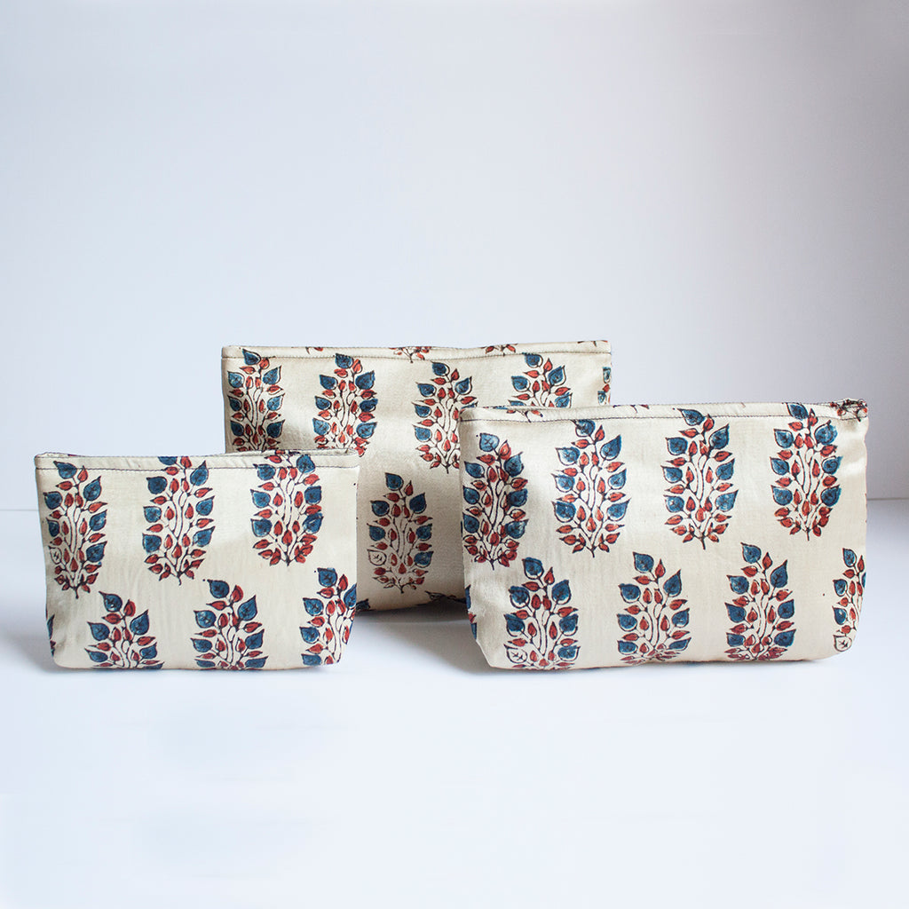Ajrakh Hand-block Print Pouch Set of 3 - Off-White Red Blue Flower