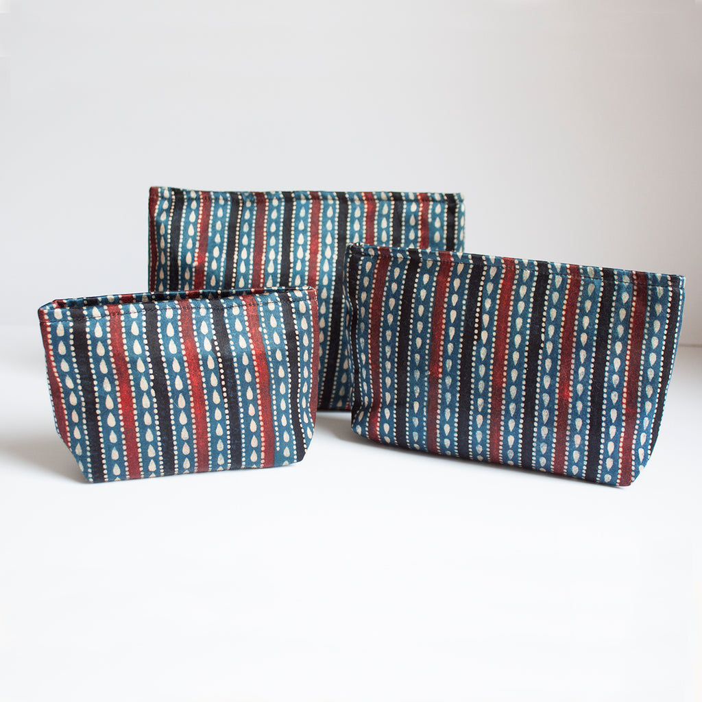 Ajrakh Hand-block Print Pouch Set of 3 - Blue Black Stripes