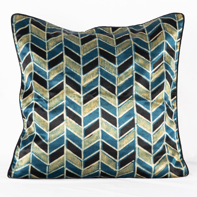 SVEZE Geometric Chevron Hand Block Print Mashru Silk Cushion Cover - Blue Black