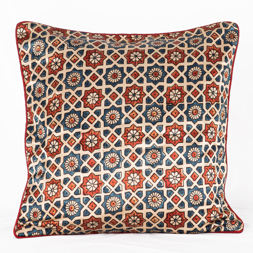 Sveze - Hand-block Print Geometric Flower Cushion Cover - Off - White Blue Red - Close-up Image