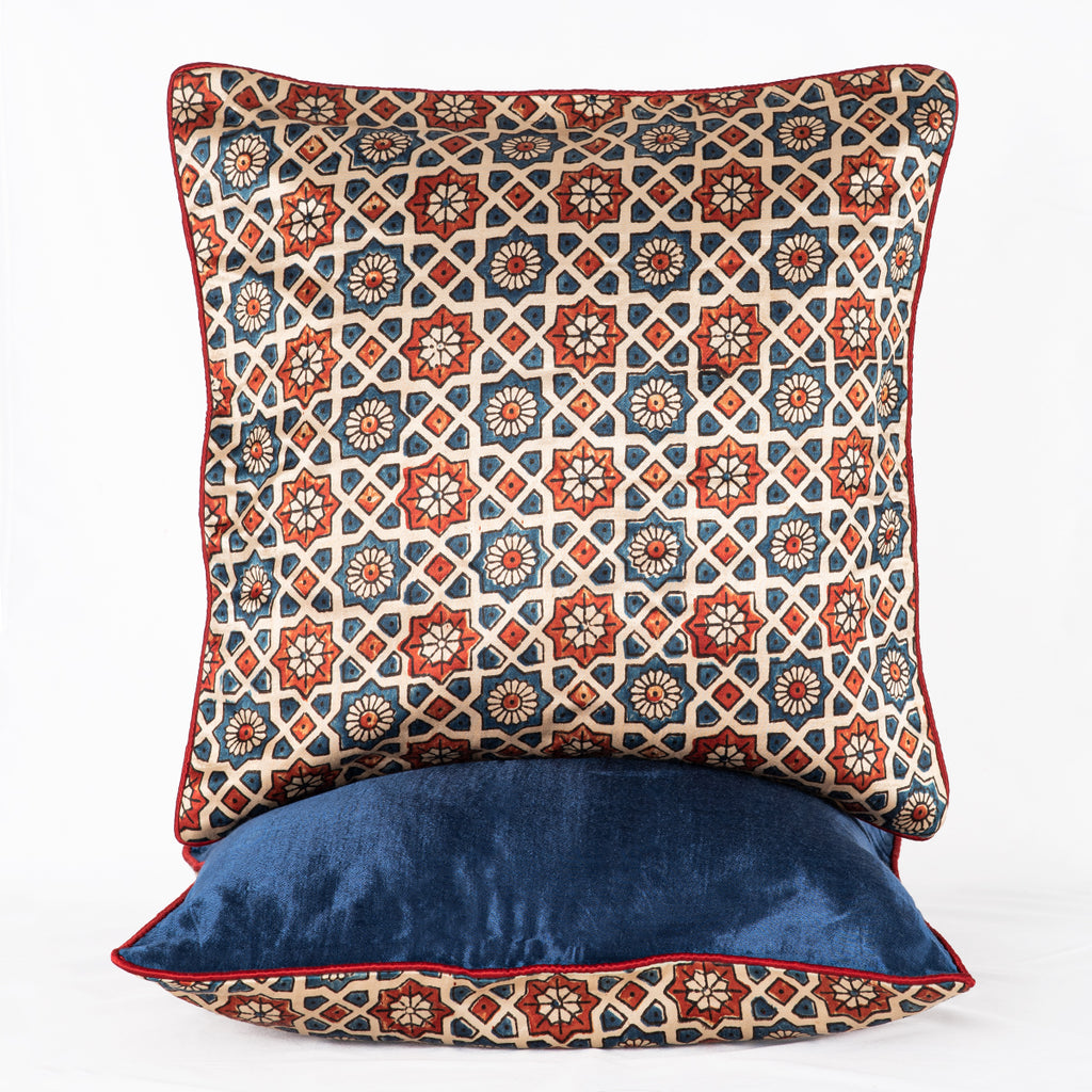 Sveze - Hand-block Print Geometric Flower Cushion Cover - Off - White Blue Red - Alternate Image