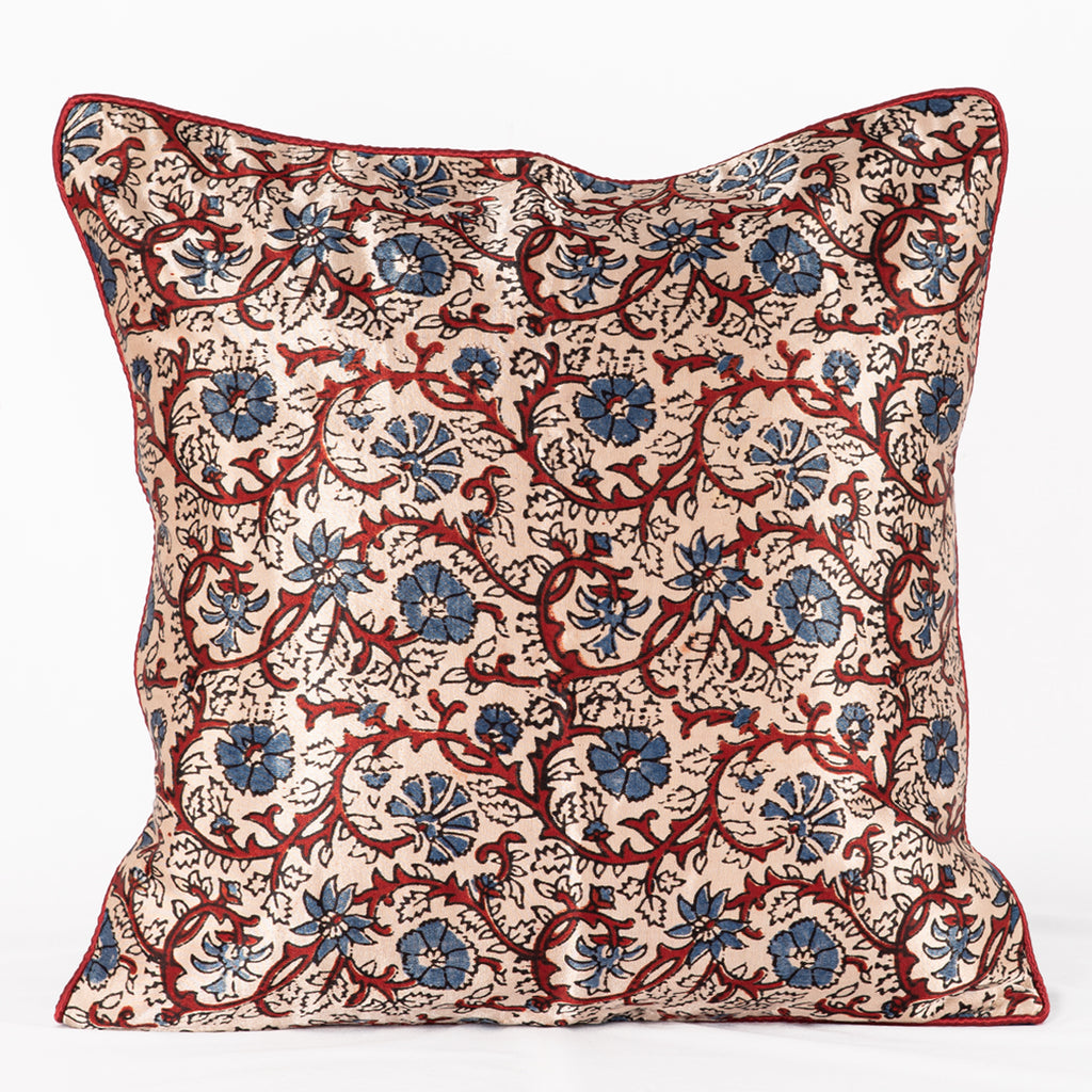 SVEZE Floral Vine Hand Block Print Mashru Silk Cushion Cover - Off-white Blue Red