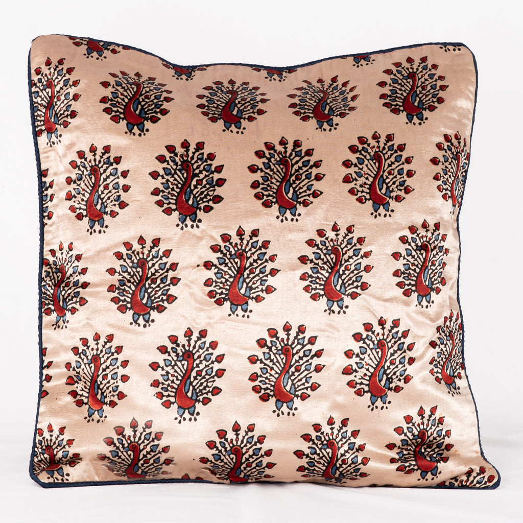 SVEZE Peacock Hand Block Print Mashru Silk Cushion Cover - Off-white Red