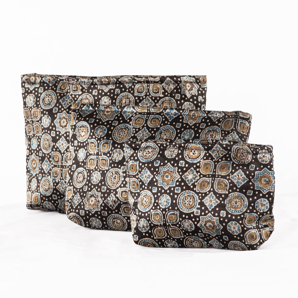 Sveze - Hand-block Print Silk Travel Case Set of 3 - Black Geometric - Product Image