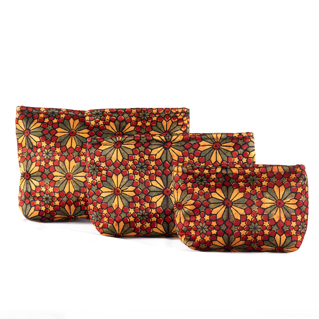 Sveze - Hand-block Print Silk Travel Case Set of 3 - Red Yellow Green Geometric Floral - Product Image