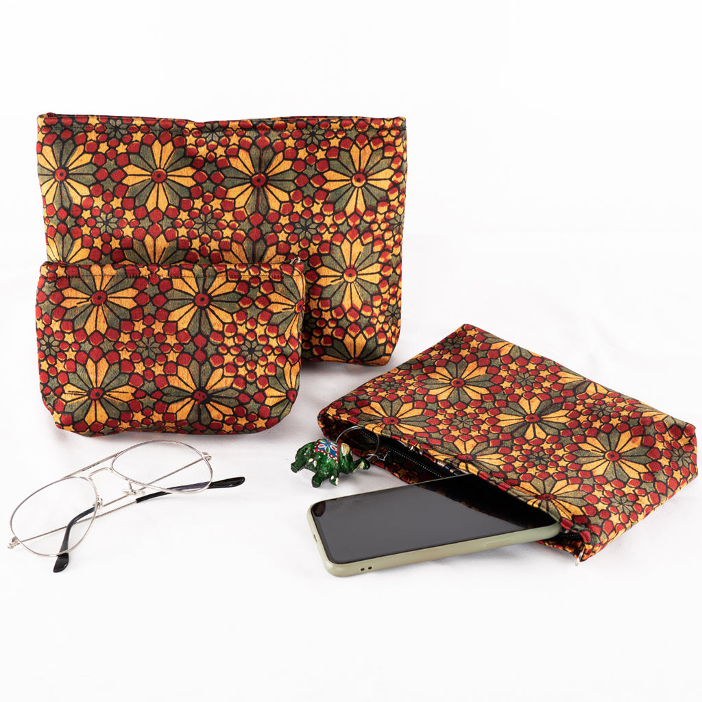 Sveze - Hand-block Print Silk Travel Case Set of 3 - Red Yellow Green Geometric Floral - Lifestyle Image