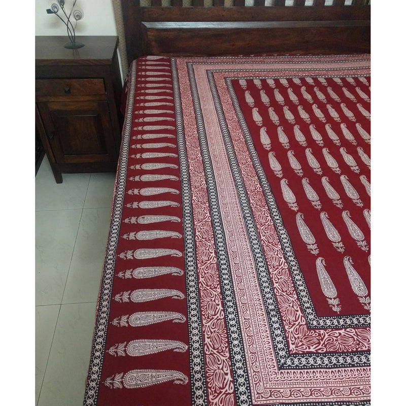 Long Paisley Bagh Hand-block Print Flat Bed Sheet - Red