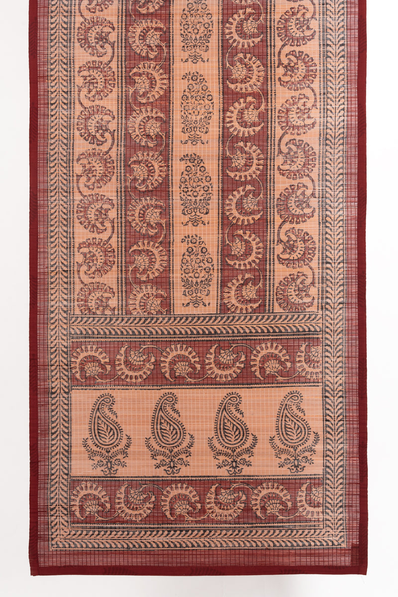 Floral Paisley Bagh Hand Block Print Bamboo Wall Hanging - Red