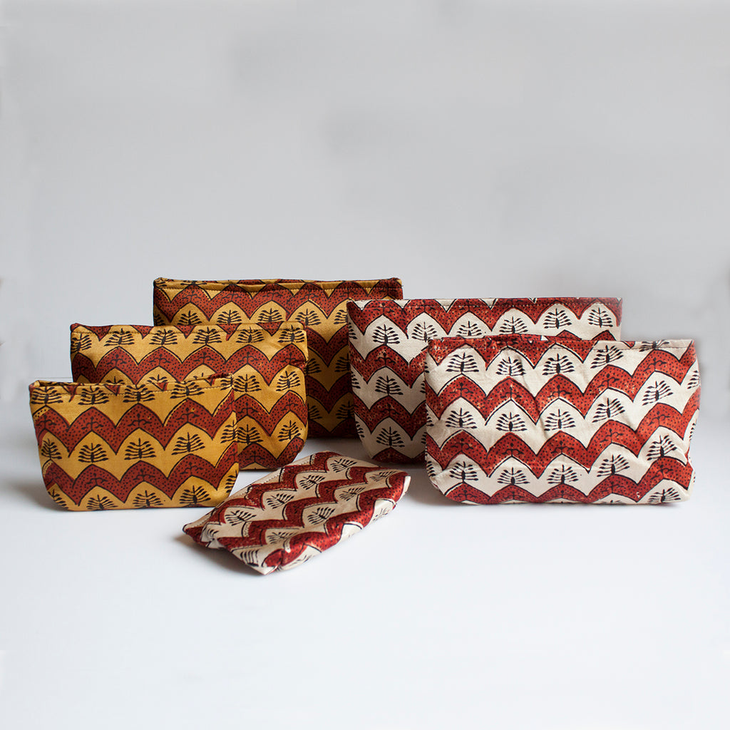 Ajrakh Hand-block Print Pouch Set of 3 - Red Ochre Chevron