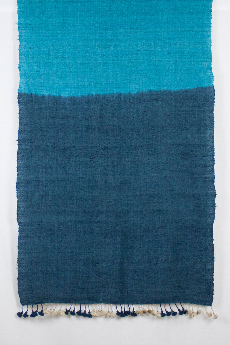 Dip Dyed Handwoven Textured Scarf - Off White Teal