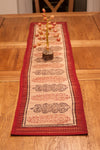 Long Paisley Hand-block Print Table Runner - Red Black