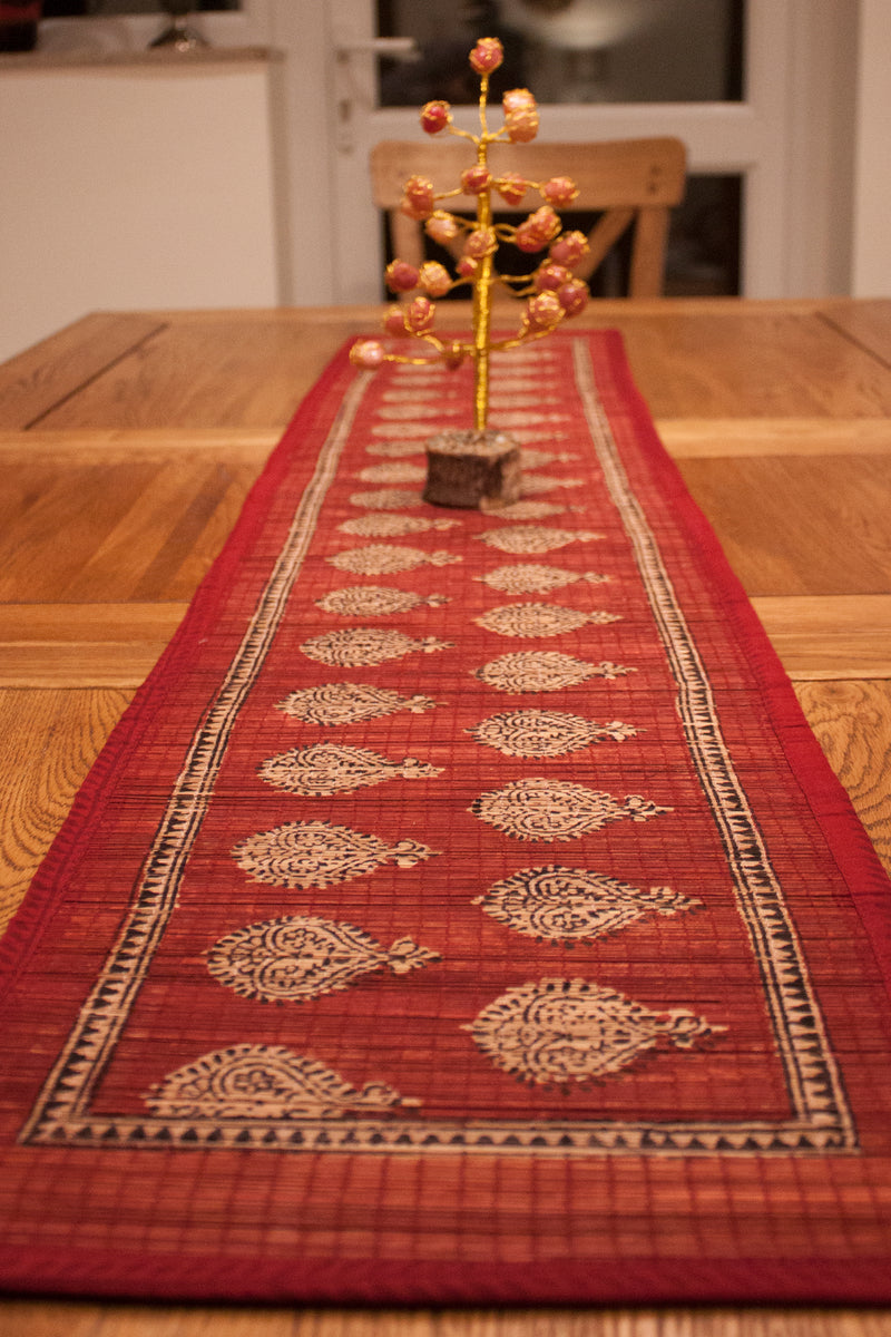 Traditional Paisley Hand-block Print Table Runner - Red