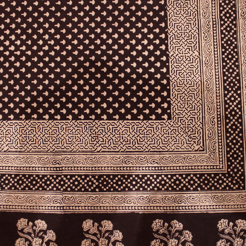 Mushroom & Floral Hand-block Print Table Cloth - Black White