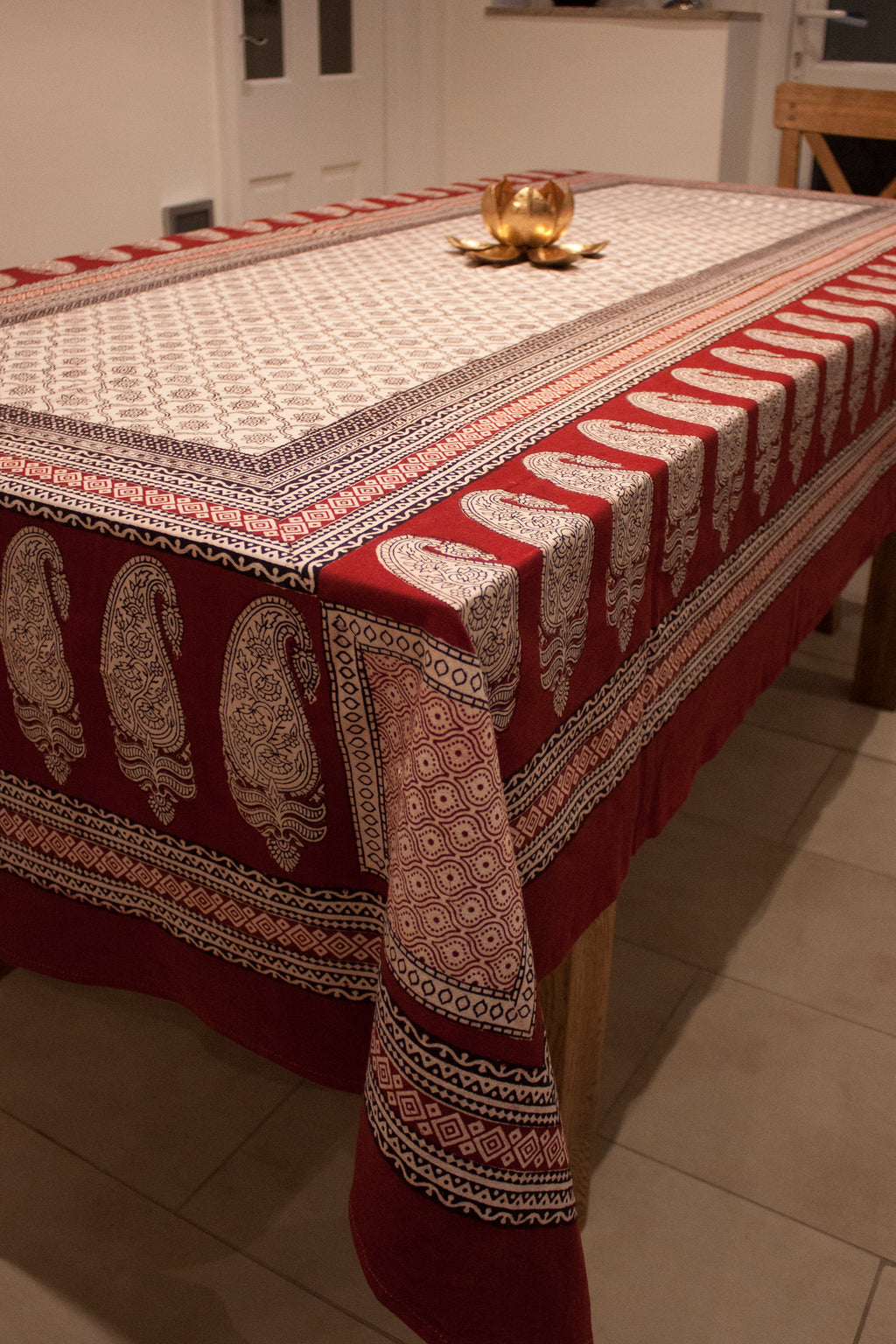 Mughal Flower & Paisley Hand-block Print Table Cloth - White Red