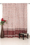 Pine Paisley Bagh Hand-block Print Curtain - White Red