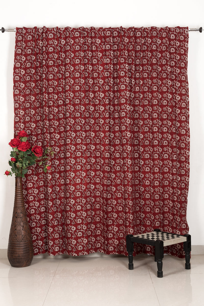 Marigold Flower Bagh Hand-block Print Door Curtain - Red