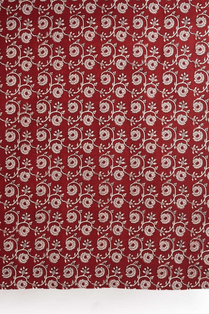Marigold Flower Bagh Hand-block Print Window Curtain - Red