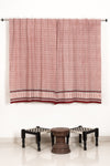 Litle Flower Bagh Hand-block Print Window Curtain - White Red