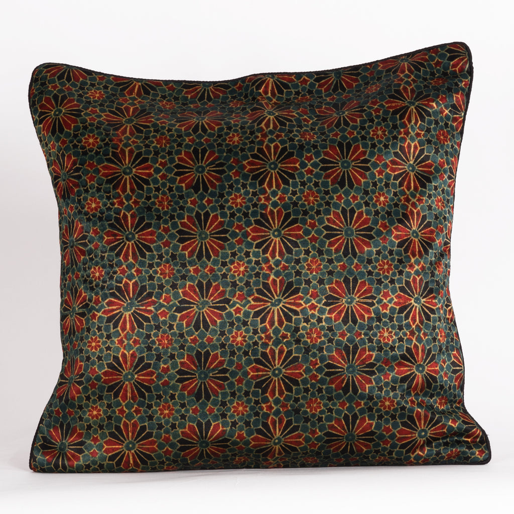 Geometric Flowers Hand Block Print Mashru Silk Cushion Cover - Red Black