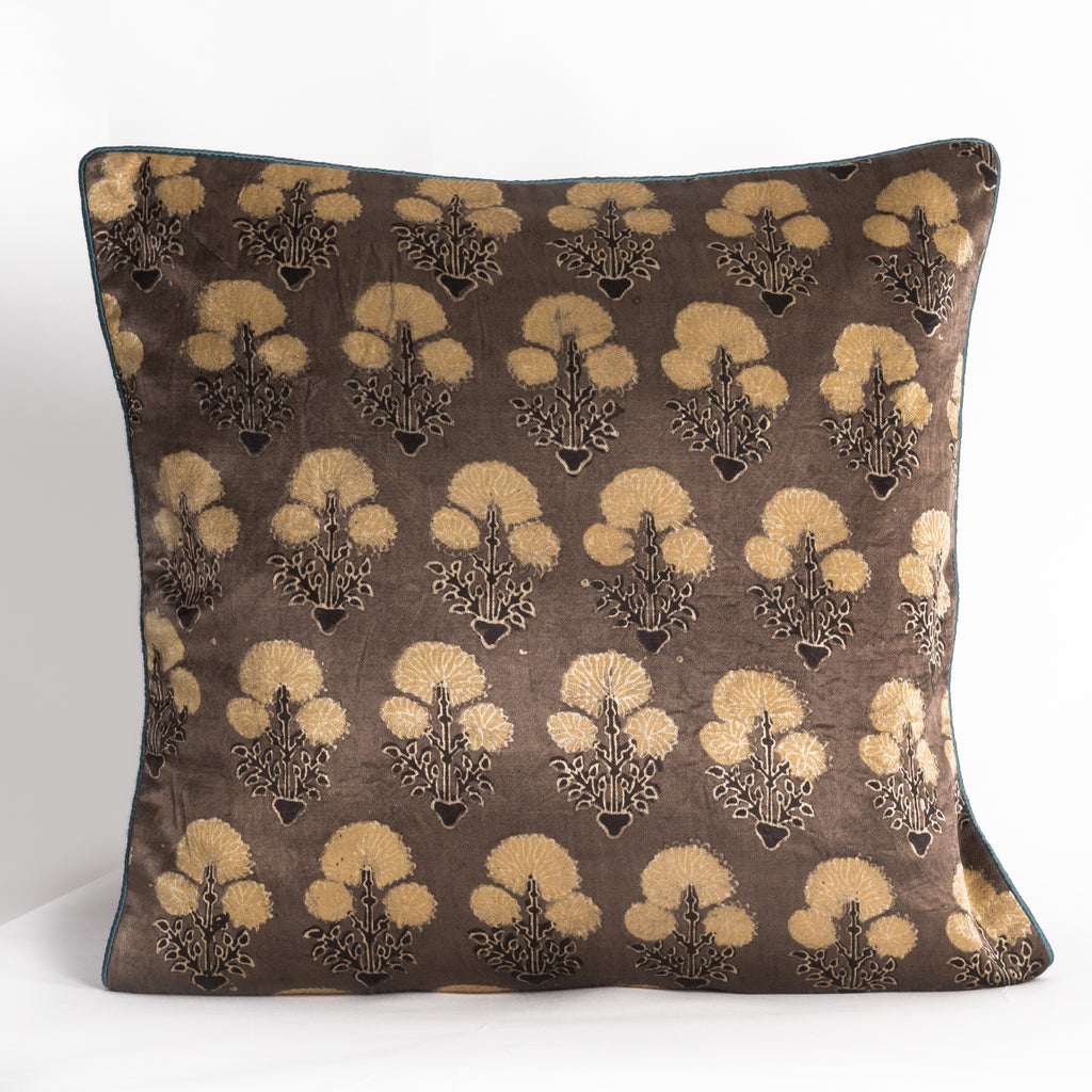 Ajrakh Hand-block Print Cushion Cover - Olive Yellow Flower