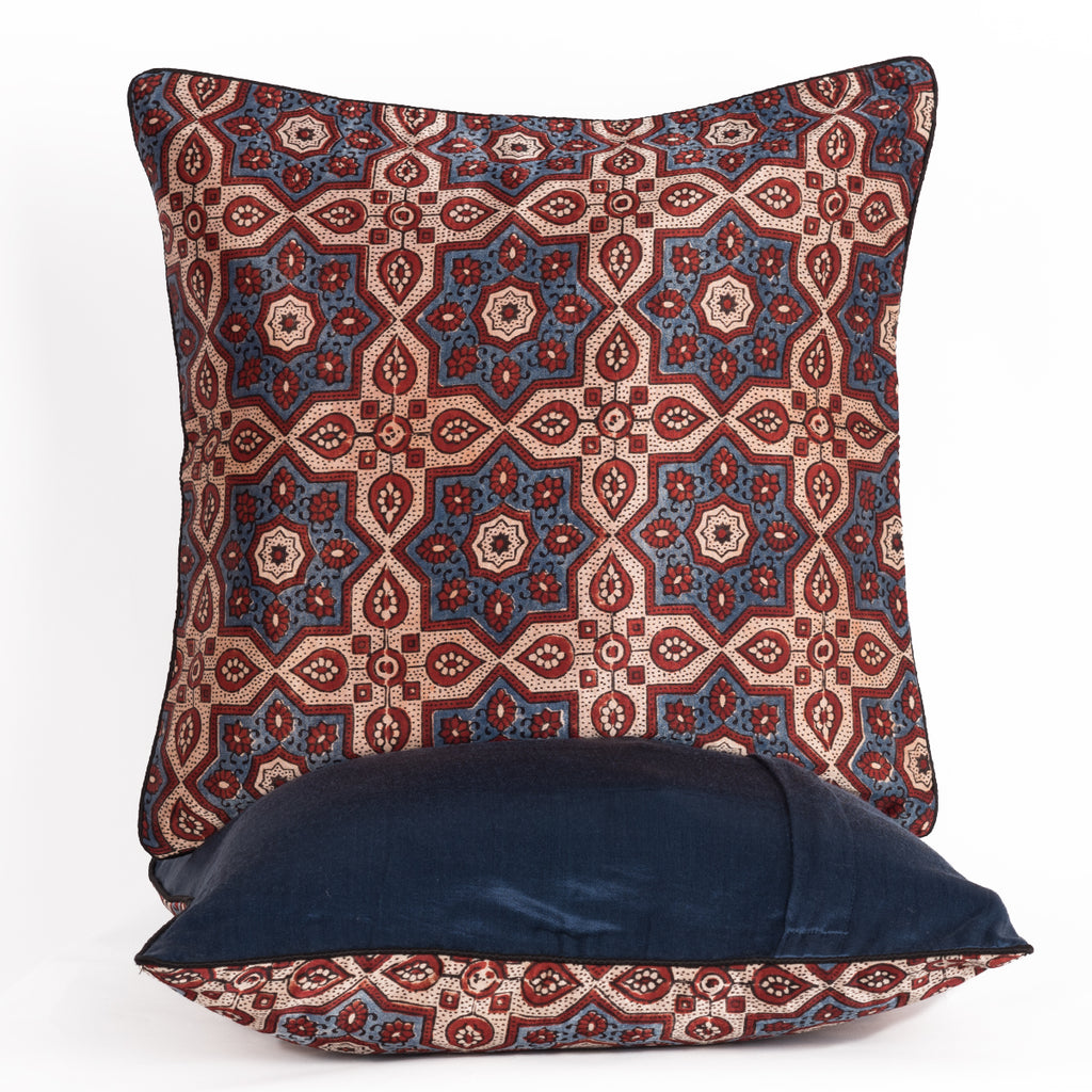 Ajrakh Hand-block Print Star Flower Cushion Cover - Blue Off-White