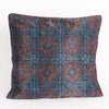 Ajrakh Hand-block Print Star Flower Cushion Cover - Red Blue